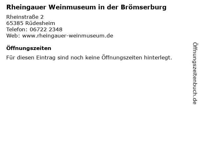 Rheingauer Weinmuseum in der Brömserburg in Rüdesheim: Adresse und Öffnungszeiten