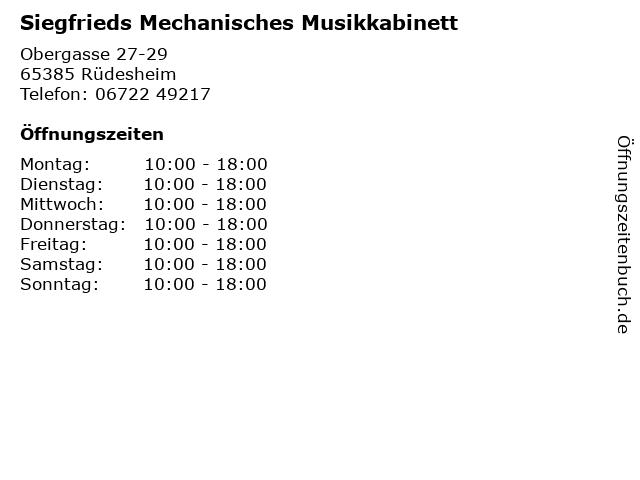 Siegfrieds Mechanisches Musikkabinett in Rüdesheim: Adresse und Öffnungszeiten