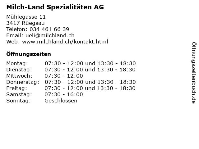 Milch-Land Spezialitäten AG in Rüegsau: Adresse und Öffnungszeiten