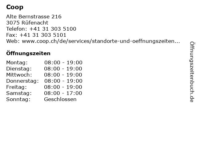 Coop in Rüfenacht: Adresse und Öffnungszeiten