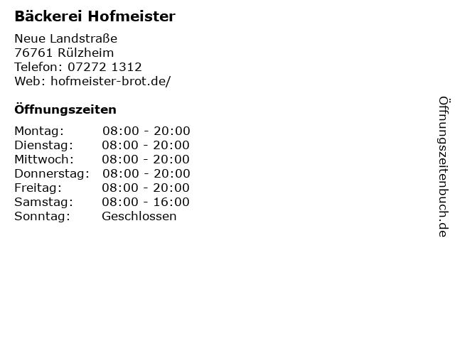 Bäckerei Hofmeister in Rülzheim: Adresse und Öffnungszeiten