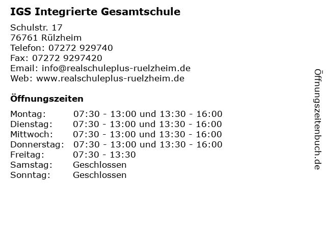 IGS Integrierte Gesamtschule in Rülzheim: Adresse und Öffnungszeiten