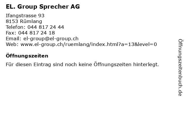 EL. Group Sprecher AG in Rümlang: Adresse und Öffnungszeiten