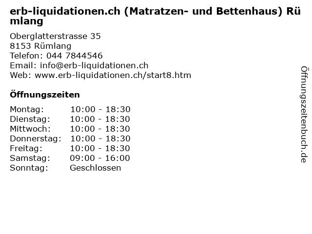 erb-liquidationen.ch (Matratzen- und Bettenhaus) Rümlang in Rümlang: Adresse und Öffnungszeiten
