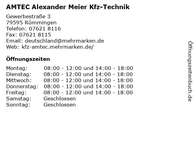 AMTEC Alexander Meier Kfz-Technik in Rümmingen: Adresse und Öffnungszeiten