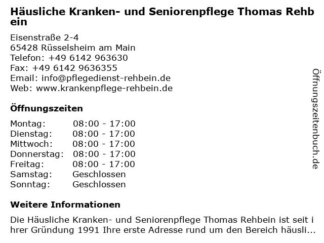 Häusliche Kranken- und Seniorenpflege Thomas Rehbein in Rüsselsheim am Main: Adresse und Öffnungszeiten