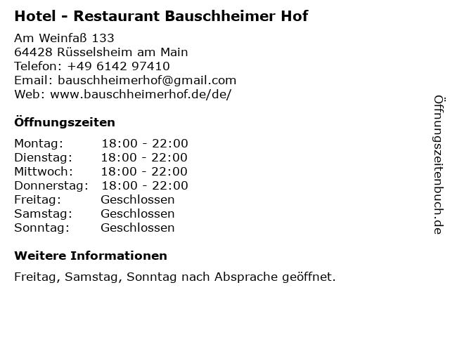 Hotel - Restaurant Bauschheimer Hof in Rüsselsheim am Main: Adresse und Öffnungszeiten