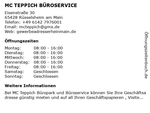 MC TEPPICH BÜROSERVICE in Rüsselsheim am Main: Adresse und Öffnungszeiten