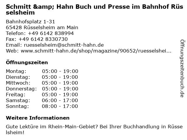 Schmitt & Hahn Buch und Presse im Bahnhof Rüsselsheim in Rüsselsheim am Main: Adresse und Öffnungszeiten