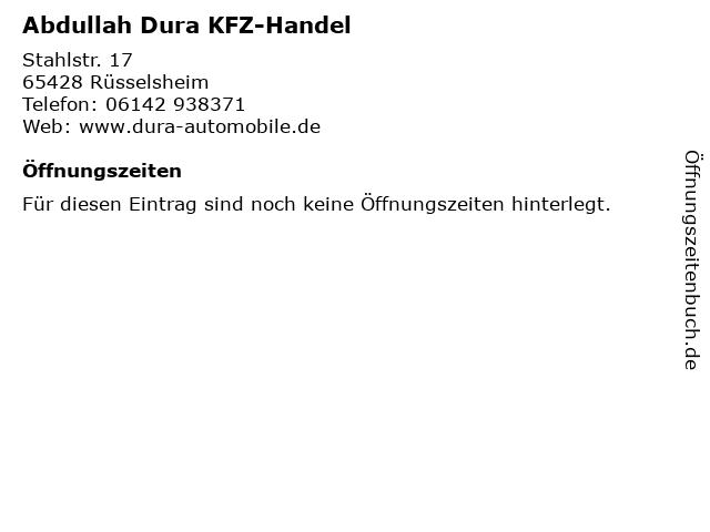 Abdullah Dura KFZ-Handel in Rüsselsheim: Adresse und Öffnungszeiten