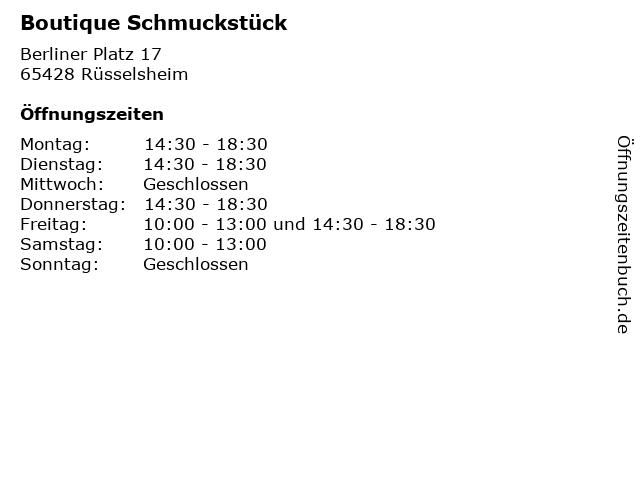 Boutique Schmuckstück in Rüsselsheim: Adresse und Öffnungszeiten