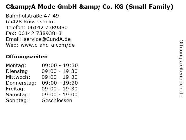 C&A Mode GmbH & Co. KG (Small Family) in Rüsselsheim: Adresse und Öffnungszeiten