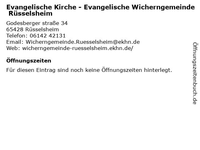 Wicherngemeinde, Ulrich Pfarrer Kuhl, Claudia Weiß-Kuhl in Rüsselsheim: Adresse und Öffnungszeiten