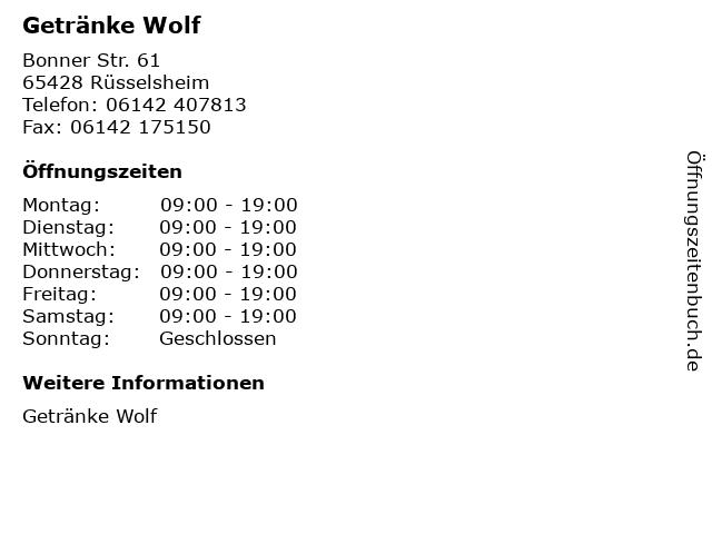 Getränke Wolf in Rüsselsheim: Adresse und Öffnungszeiten