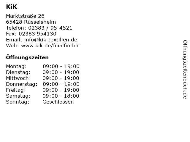 KiK in Rüsselsheim: Adresse und Öffnungszeiten