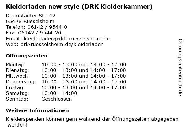 Kleiderladen new style (DRK Kleiderkammer) in Rüsselsheim: Adresse und Öffnungszeiten