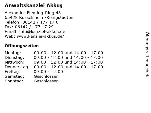 Anwaltskanzlei Akkuş in Rüsselsheim-Königstädten: Adresse und Öffnungszeiten