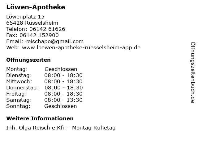 Löwen-Apotheke in Rüsselsheim: Adresse und Öffnungszeiten