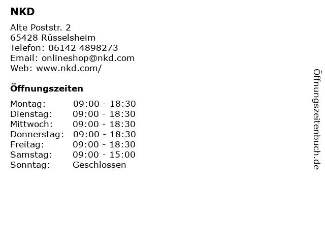 NKD in Rüsselsheim: Adresse und Öffnungszeiten
