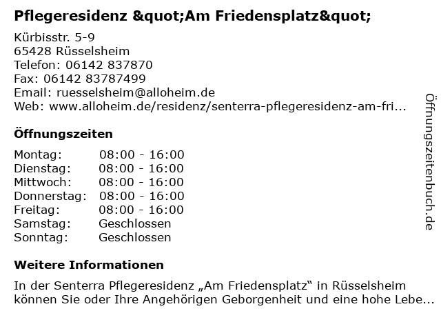 """Pflegeresidenz """"Am Friedensplatz"""" in Rüsselsheim: Adresse und Öffnungszeiten"""