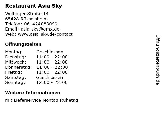 Restaurant Asia Sky in Rüsselsheim: Adresse und Öffnungszeiten