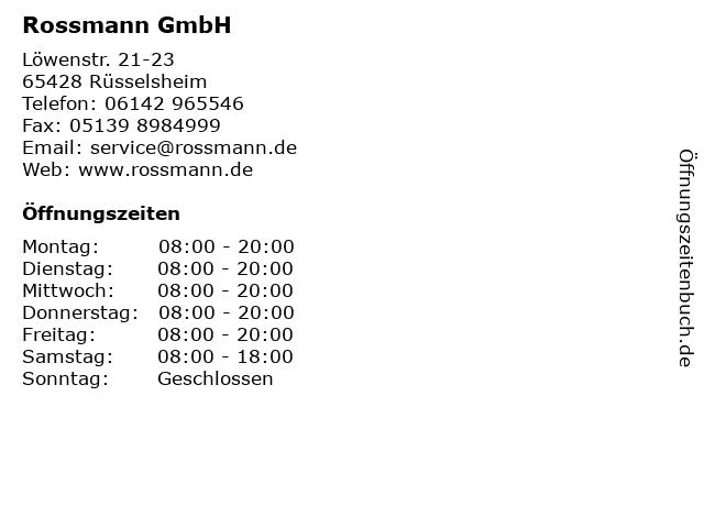 Rossmann GmbH in Rüsselsheim: Adresse und Öffnungszeiten