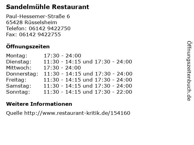 Sandelmühle Restaurant in Rüsselsheim: Adresse und Öffnungszeiten