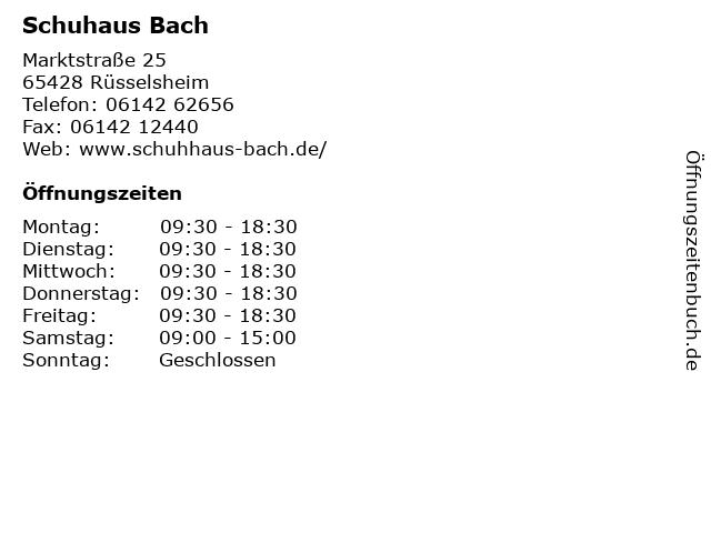 Schuhaus Bach in Rüsselsheim: Adresse und Öffnungszeiten
