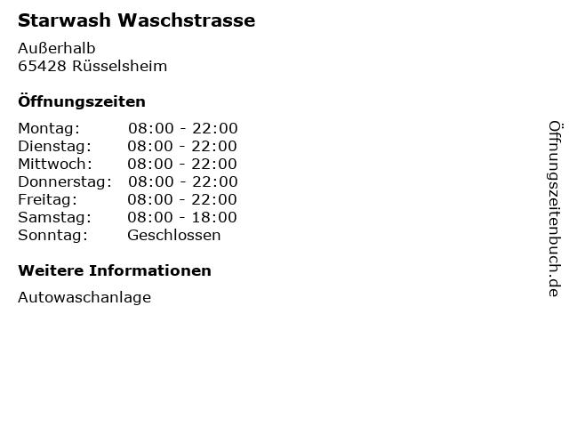 Starwash Waschstrasse in Rüsselsheim: Adresse und Öffnungszeiten