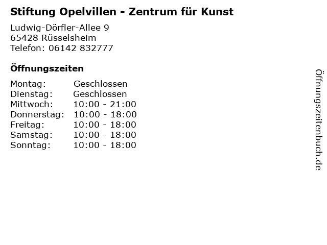 Stiftung Opelvillen - Zentrum für Kunst in Rüsselsheim: Adresse und Öffnungszeiten