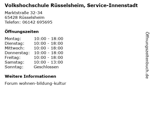 Volkshochschule Rüsselsheim, Service-Innenstadt in Rüsselsheim: Adresse und Öffnungszeiten