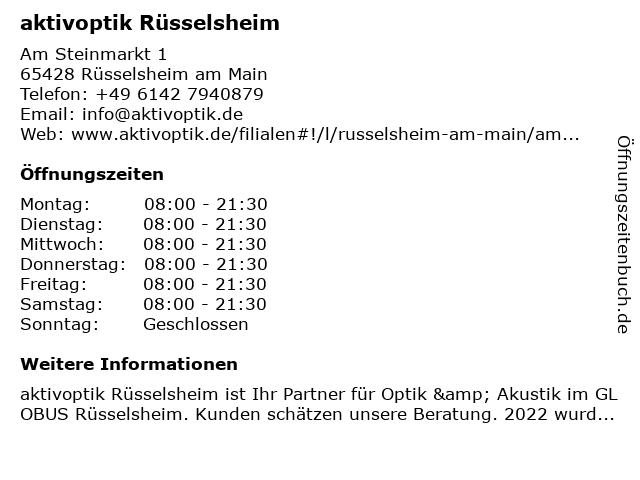 aktivoptik in Rüsselsheim: Adresse und Öffnungszeiten