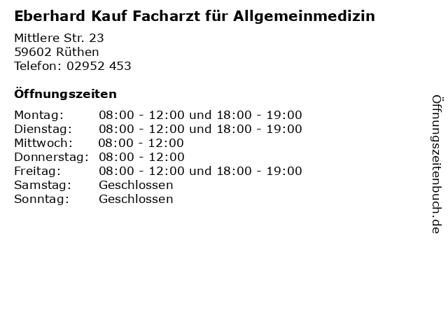 Eberhard Kauf Facharzt für Allgemeinmedizin in Rüthen: Adresse und Öffnungszeiten
