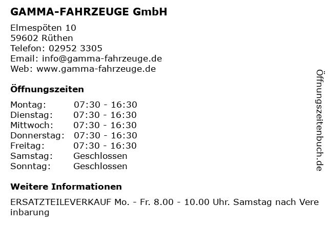 GAMMA-FAHRZEUGE GmbH in Rüthen: Adresse und Öffnungszeiten