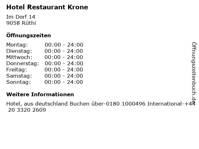 Hotel Restaurant Krone in Rüthi: Adresse und Öffnungszeiten
