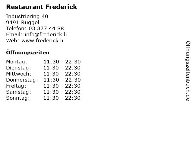 Restaurant Frederick in Ruggel: Adresse und Öffnungszeiten
