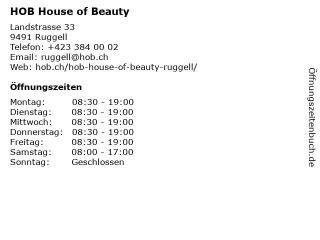 HOB House of Beauty in Ruggell: Adresse und Öffnungszeiten