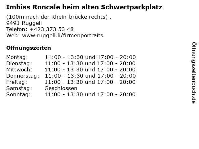 Imbiss Roncale beim alten Schwertparkplatz in Ruggell: Adresse und Öffnungszeiten