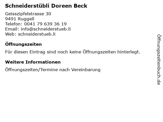 Schneiderstübli Doreen Beck in Ruggell: Adresse und Öffnungszeiten