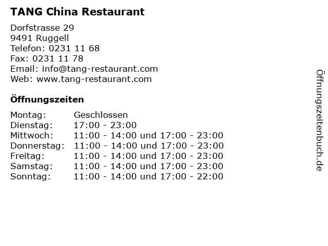 TANG China Restaurant in Ruggell: Adresse und Öffnungszeiten