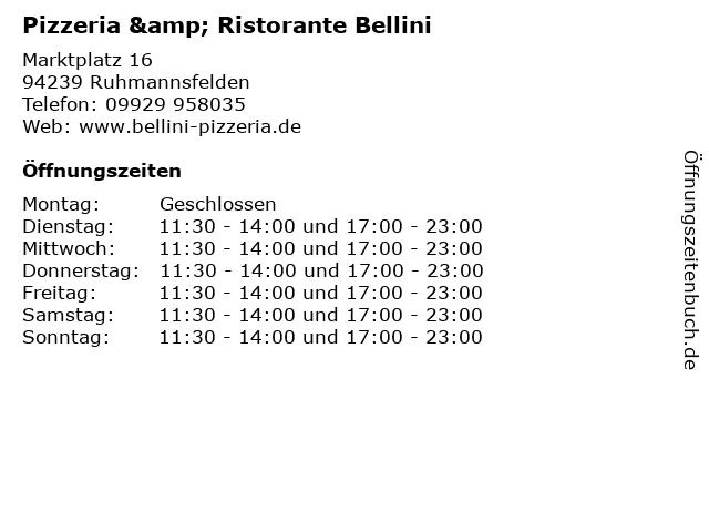 Pizzeria & Ristorante Bellini in Ruhmannsfelden: Adresse und Öffnungszeiten