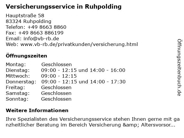 Allianz Versicherung Ruhpolding - VR Versicherungsservice in Ruhpolding: Adresse und Öffnungszeiten