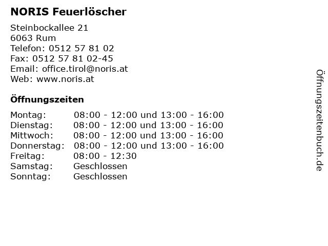 NORIS Feuerlöscher in Rum: Adresse und Öffnungszeiten