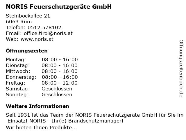 NORIS Feuerschutzgeräte GmbH in Rum: Adresse und Öffnungszeiten