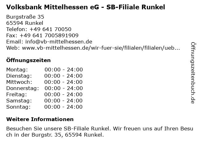 Volksbank Mittelhessen eG - SB-Filiale Runkel in Runkel: Adresse und Öffnungszeiten
