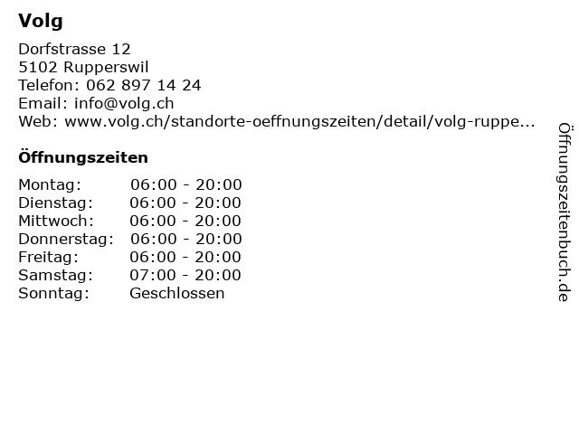 Volg in Rupperswil: Adresse und Öffnungszeiten