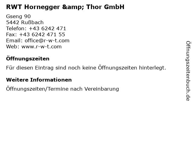 RWT Hornegger & Thor GmbH in Rußbach: Adresse und Öffnungszeiten