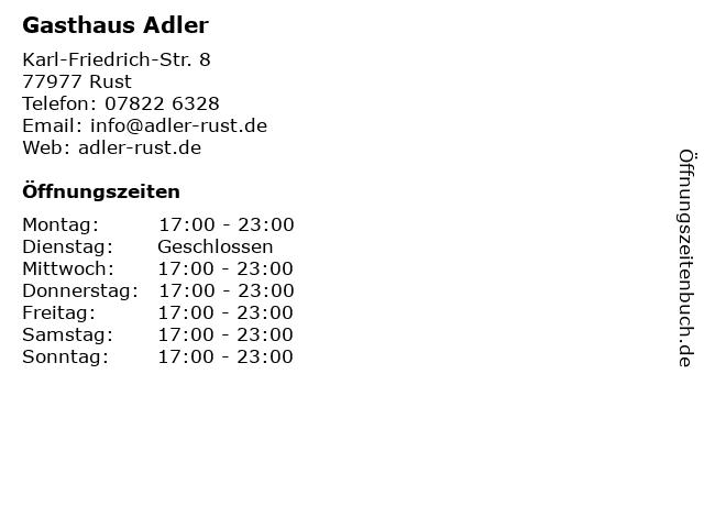 Gasthaus Adler in Rust: Adresse und Öffnungszeiten