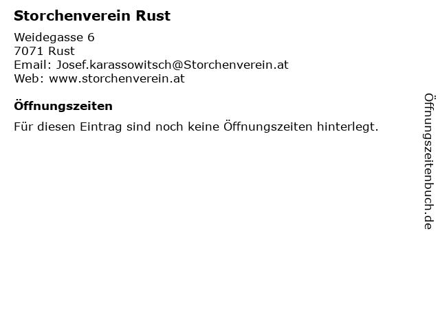 Storchenverein Rust in Rust: Adresse und Öffnungszeiten