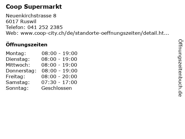 Coop Supermarkt in Ruswil: Adresse und Öffnungszeiten